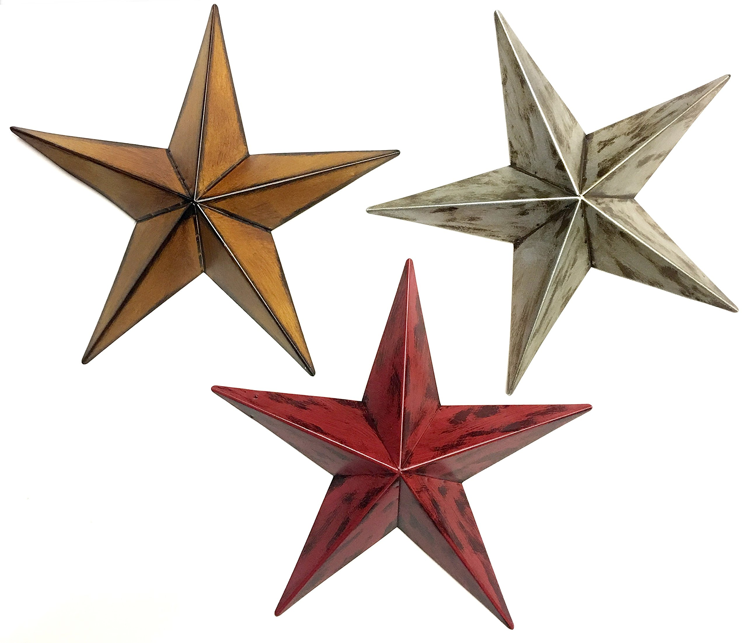 Bellaa 20018 Star Metal Wall Decor Patio Garden Indoor Outdoor Celetic (Multi, 12'' inches Each)