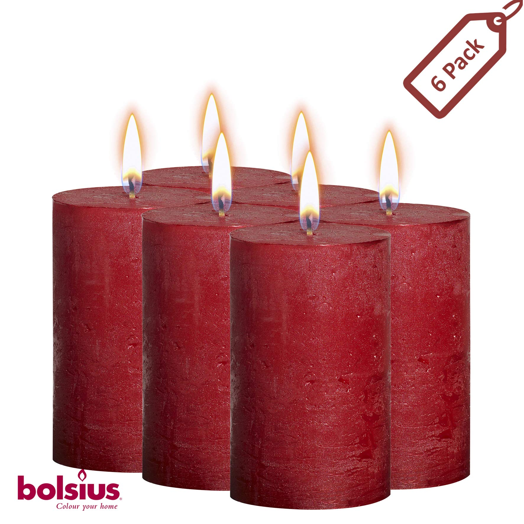 BOLSIUS Rustic Full Metallic Red Candles - Set of 6 Unscented Pillar Candles - Red Candles with a Full Metallic Coat - Slow Burning - Perfect Décor Candle - 130/68m 5 X 2.75 Inches