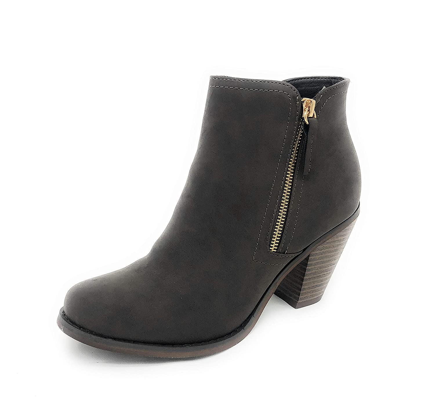 Brown-irene-08 SOLE COLLECTION Faux Leather Suede Strap Side Zipper Chunky Block Heels Dress Ankle Boots