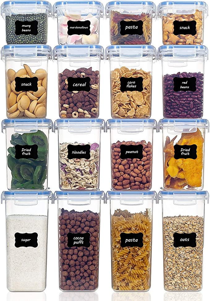 para harina,caf/é 24 Etiquetas Vtopmart Recipientes para Cereales Almacenamiento de Alimentos Jarras de Almacenamiento de Pl/ástico con Tapa Herm/ética Sin BPA,Juego de 16