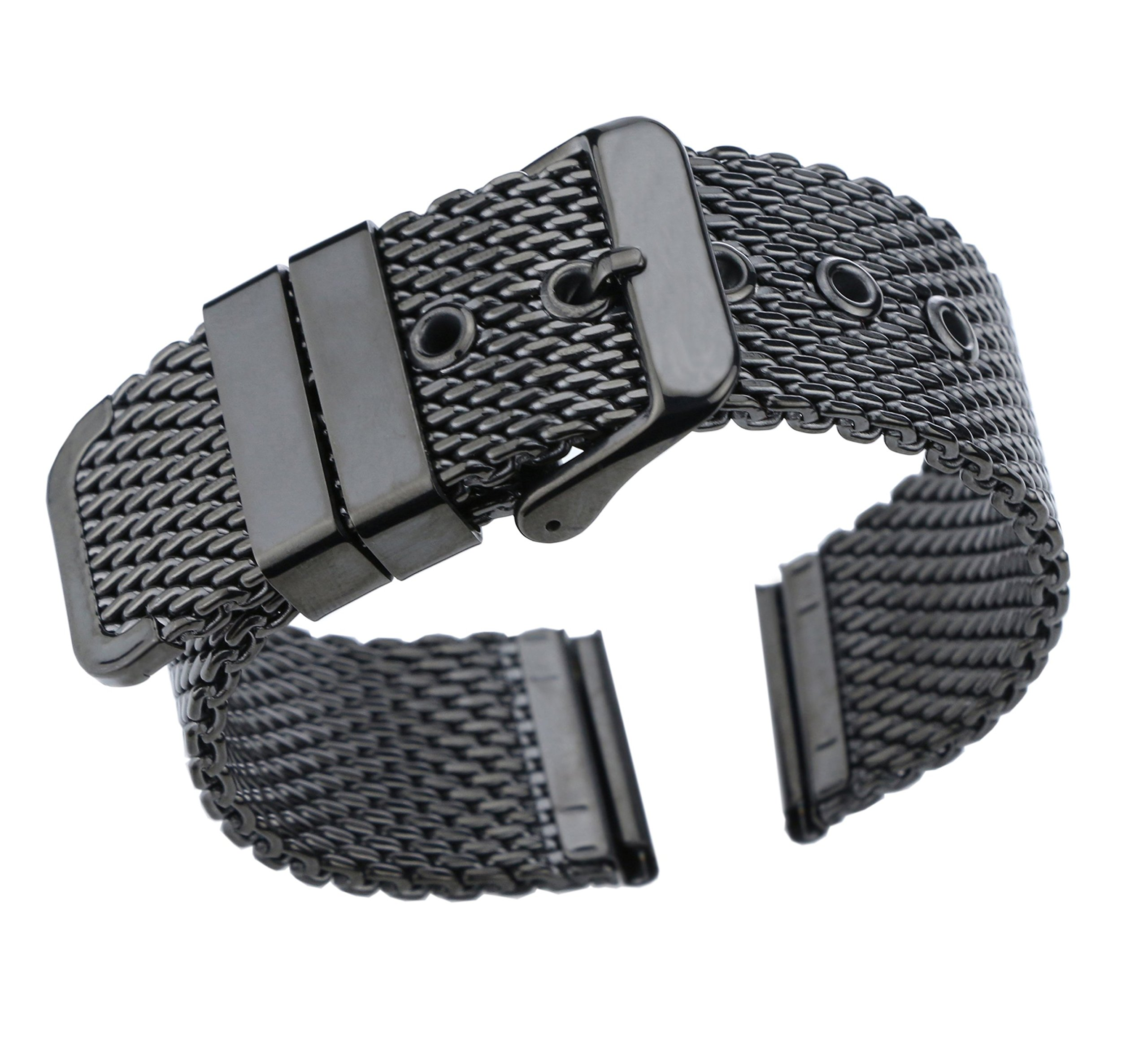 20mm Luxury Black Milanese Loop Bracelets Polished Mesh Steel Watch Band Solid 316L Stainless Steel