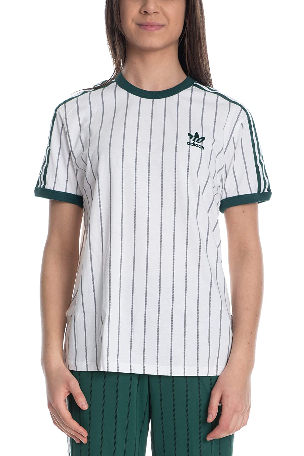 Details about adidas Originals Womens Boyfriend Tee White Striped Active Wear DU9931