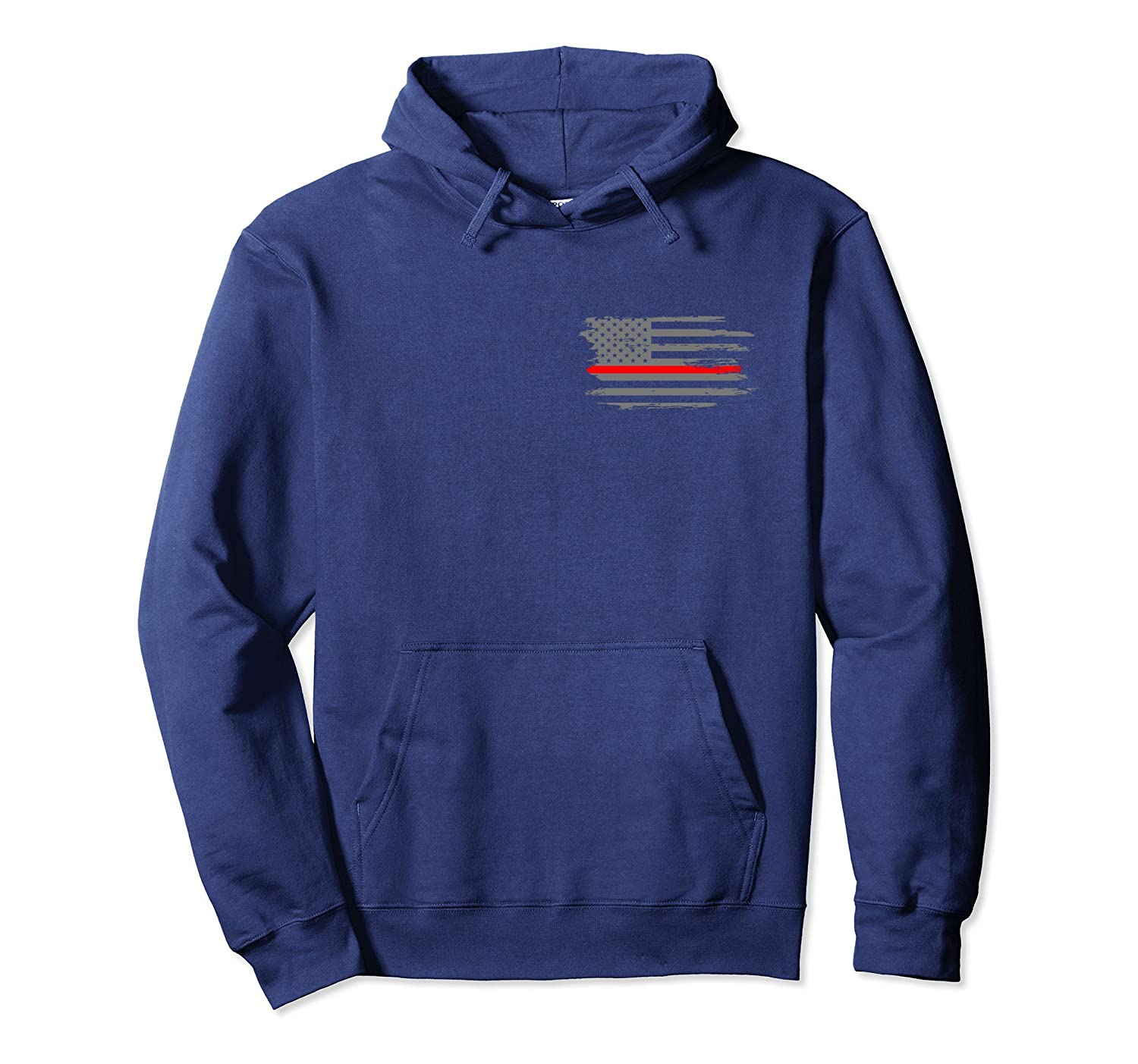 Thin Red Line Fireman Fire & Rescue American Flag Hoodie-anz