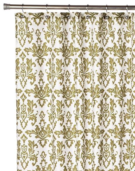 Carnation Home Fashions Damask Fabric Shower Curtain Sage On Ivory