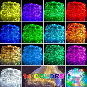 Xinkaite String Lights 65.6 FT Indoor Outdoor Fairy String Lights 200 LED Plug in for Christmas Party Tree Patio Garden Fence Bedroom Wedding Decor Multicolor Starry Light with Remote