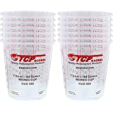 Custom Shop - Pack of 12-64 Ounce Graduated Paint Mixing Cups (2 Quarts) - Cups Have Calibrated Mixing Ratios on Side of Cup - Cups Hold 80-Fluid Ounces
