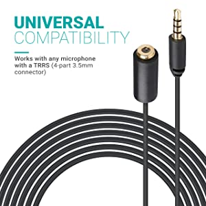 Movo PM10EC6 20-foot (6m) TRRS Female 3.5mm to TRRS Male 3.5mm Microphone Extension Cable for Smartphones (Tamaño: 20 Foot Extension Cable)