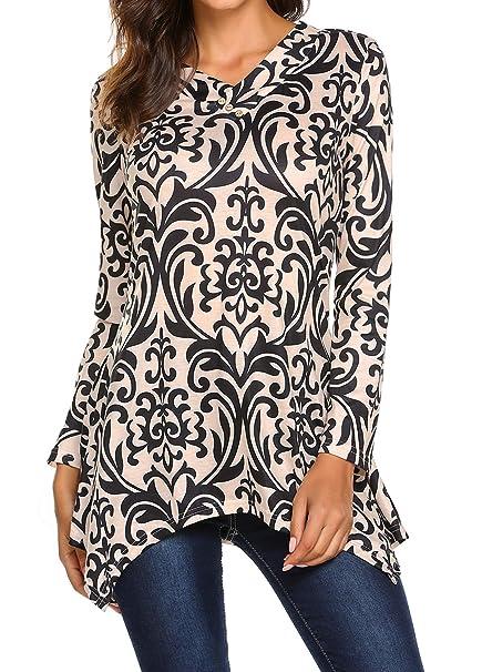 e85cb00bf078 Women s Floral Print Long Sleeve V Neck Button Shirts Irregular Hem ...
