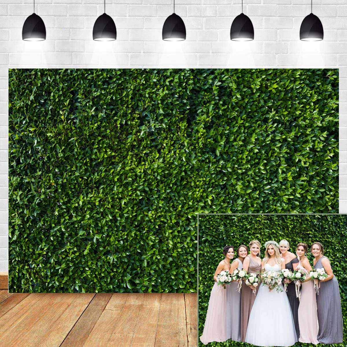 Fanghui 9x6FT Natural Green Leaves Grass Wall Backdrop for Photography Spring Summer Wedding Birthday Party Banner Supplies Outdoorsy Theme Photo Studio Booth Props. by Fanghui