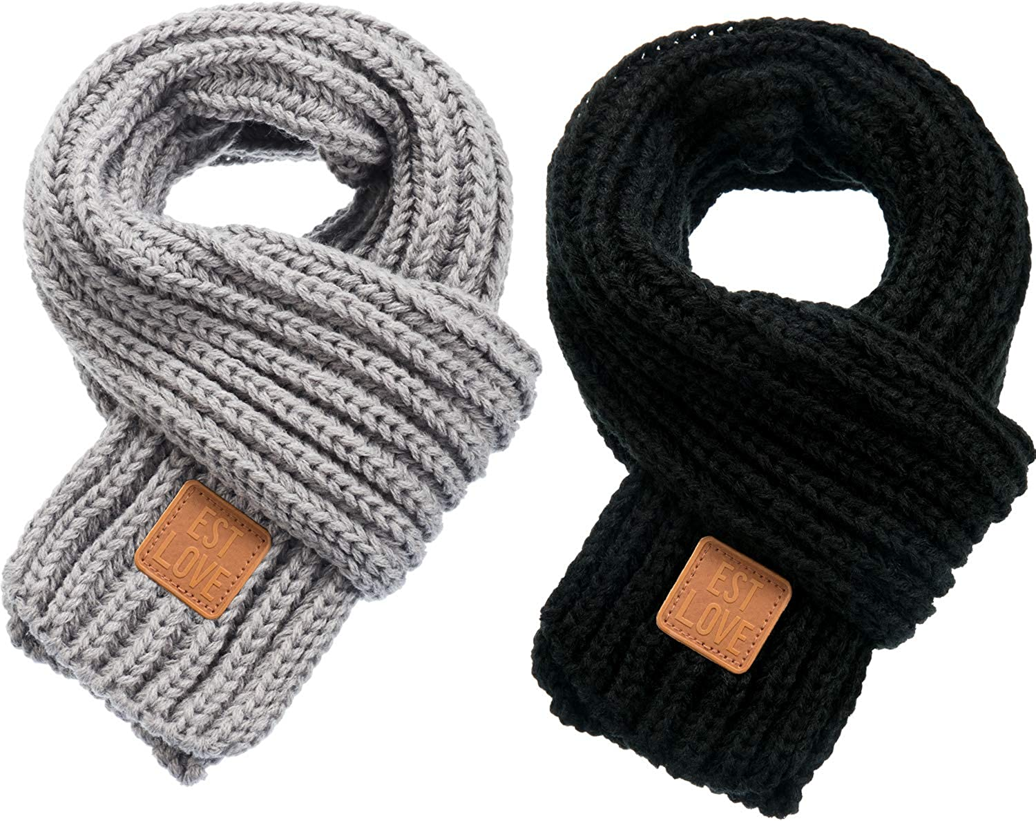 Zhanmai 2 Pieces Kids Winter Warm Knit Scarves Warm Scarf...