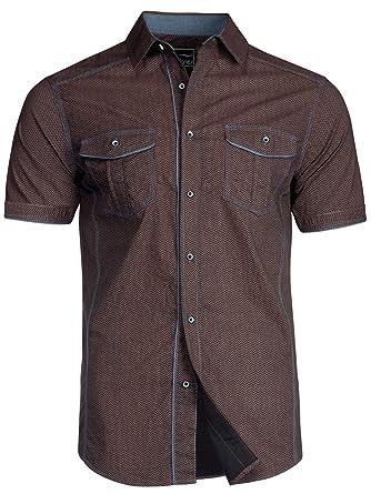 Trisens Herren Hemd Shirt Kurzarm Baumwolle Kontrast Knopfleiste Polo Party   Amazon.de  Bekleidung 867a13116f