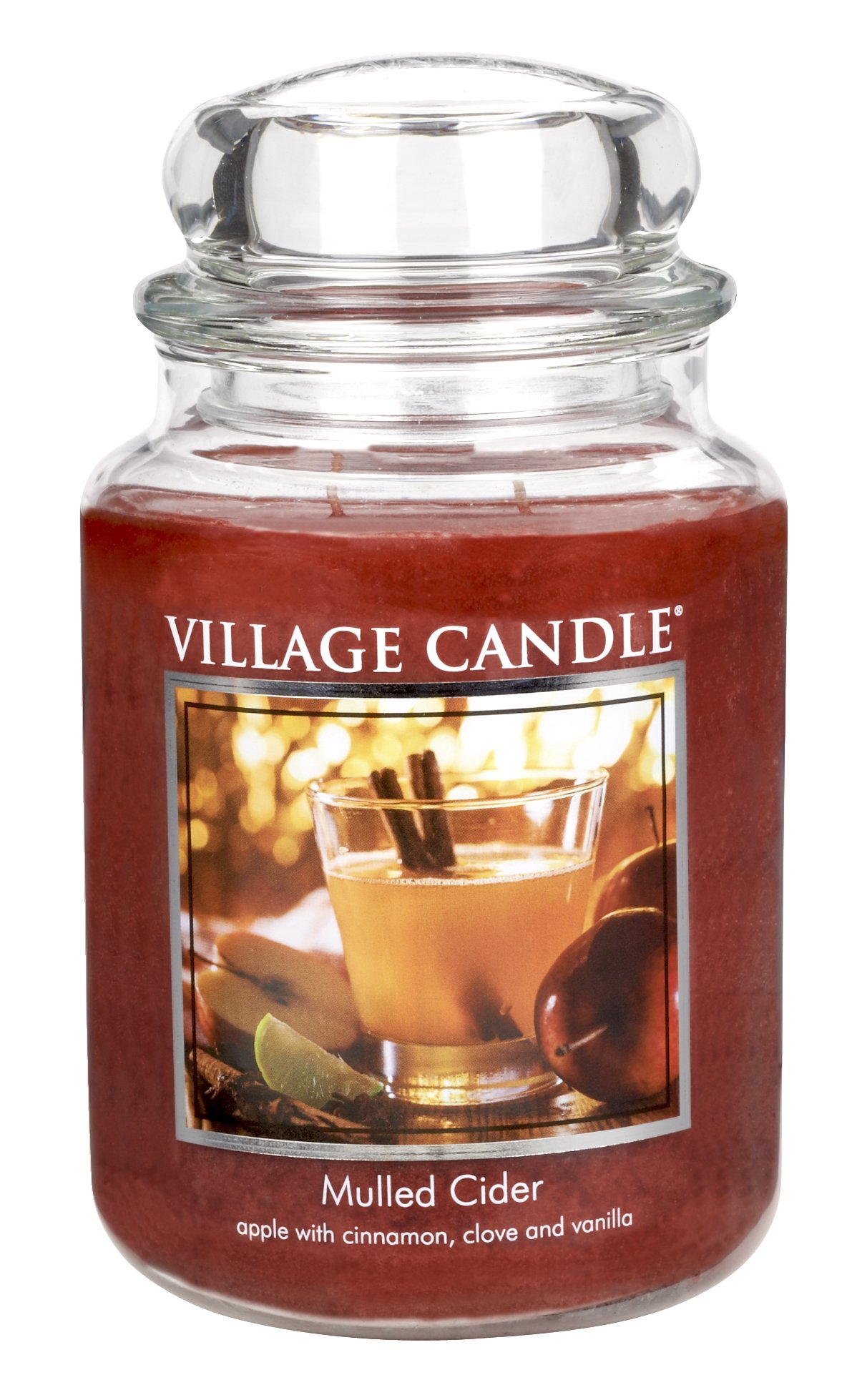 Village Candle Mulled Cider 26 oz Glass Jar Scented Candle, Large - Fragrance Notes Of Apple, Cinnamon, Clove, And Vanilla Pure, Rich, And Vibrant Deep Red Colored Food-Grade Paraffin Wax Fragranced By The World's Finest Scented Oils Village Candle's Pioneered Dual Wick Technology Provides Greater, Consistent Fragrance Release, Longer Burn Time, And Even Wax Burn With Less Soot - living-room-decor, living-room, candles - 813Nkdm4V4L -