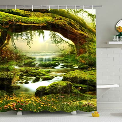 Bathroom Shower Curtain Nature Landscape Curtains Jungle Trees Streams Mossy Rocks Bath Durable
