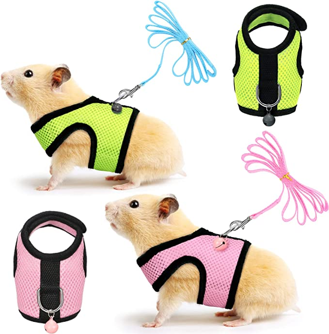 SATINIOR 2 Pieces Guinea Pig Harness and Leash Ferret Rats Hamster Soft Mesh Harness Leash Vest Set with Bell for Small Pet Rabbit Iguana Squirrel Chinchilla