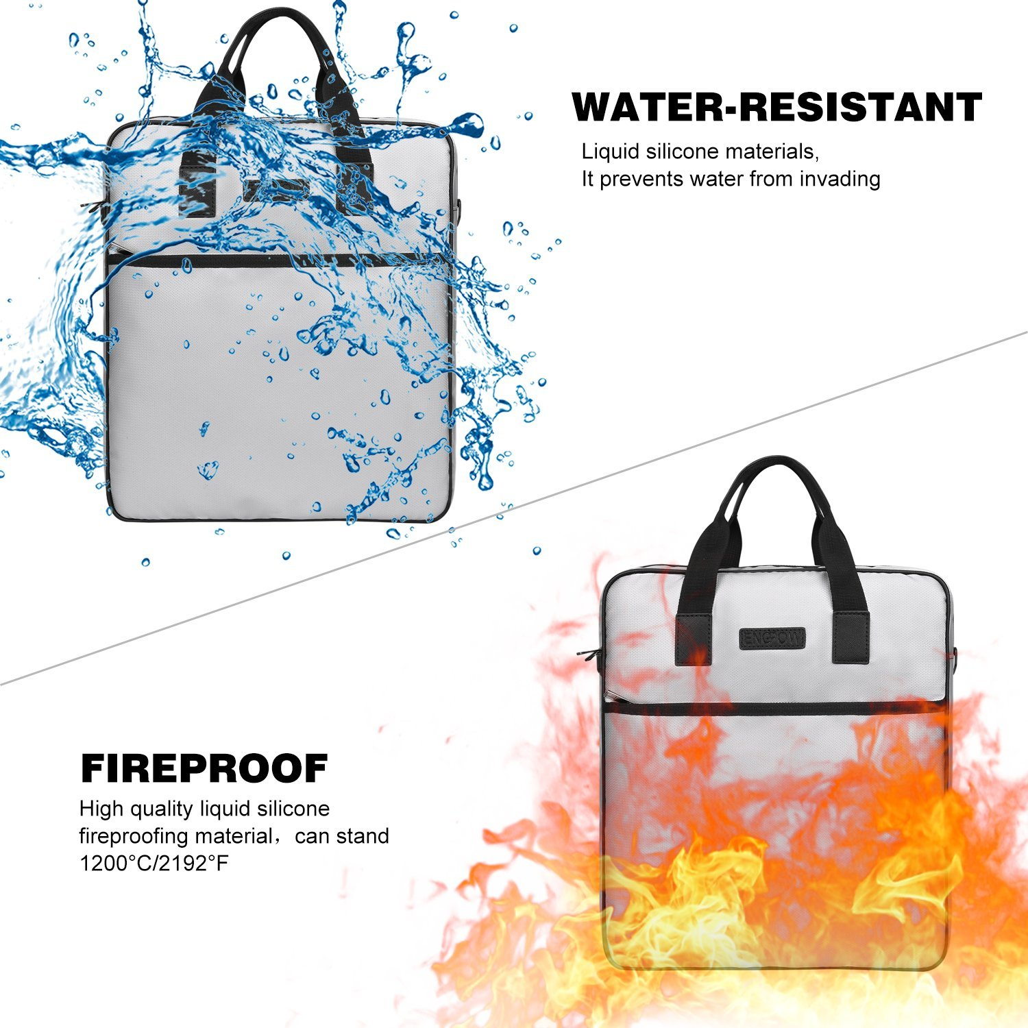 Fireproof Document Bag ENGPOW (15x11x3inch) Laptop Bag Non-Itchy Silicone Coated Fire Resistant Money Bag.Fireproof Safe Storage for Laptop, Money, Documents, Jewelry and Passport