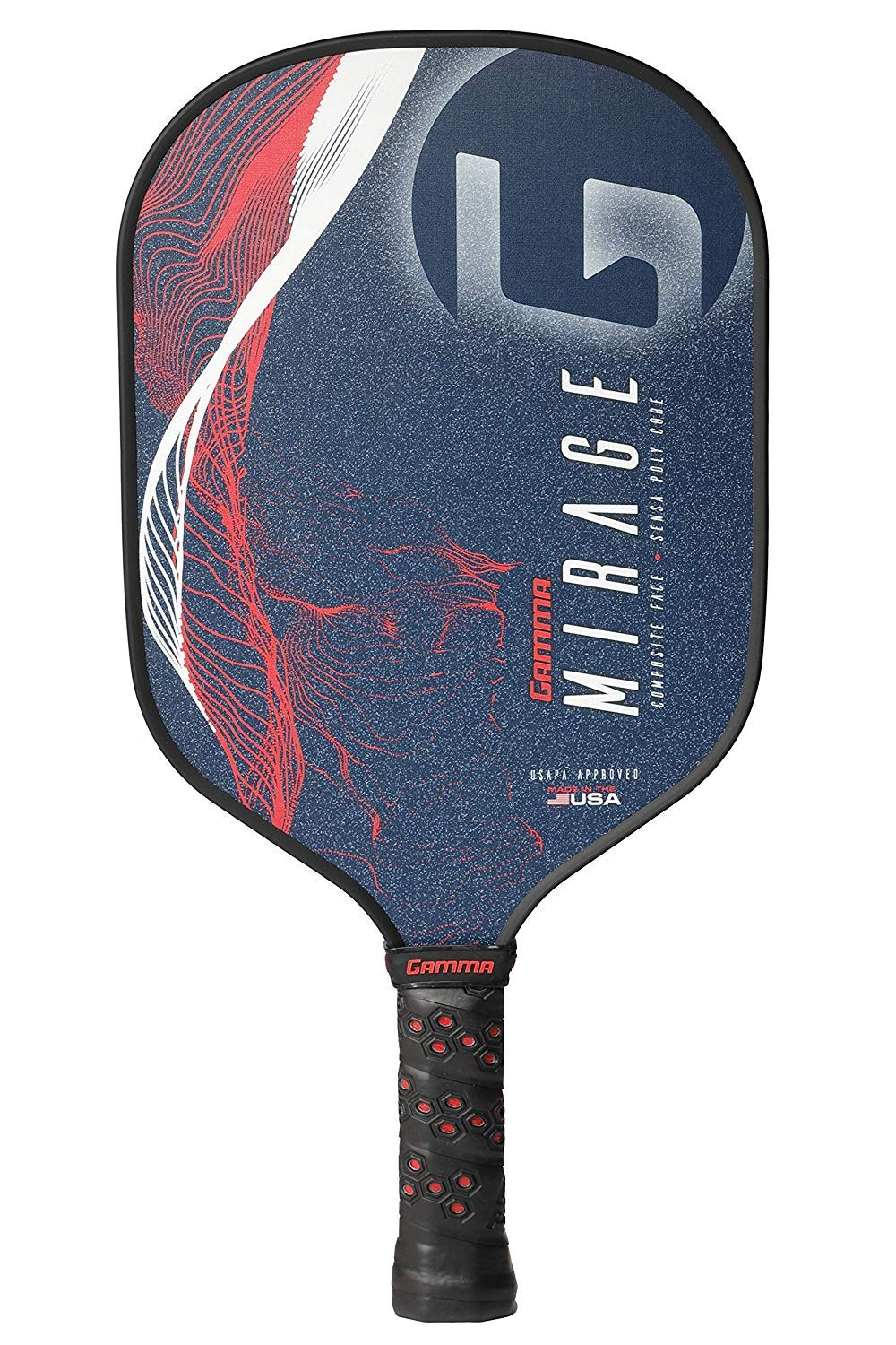 GAMMA Mirage Composite Pickleball Paddle: Pickle Ball Paddles for Indoor & Outdoor Play - USAPA Approved Racquet for Adults & Kids - Red/White/Blue by Gamma (Image #2)