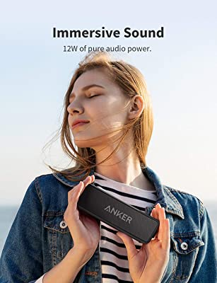 Anker Soundcore 2 Portable Bluetooth Speaker with 12W Stereo Sound, Bluetooth 5, Bassup, IPX7 Waterproof, 24-Hour Playtime, Wireless Stereo Pairing, Speaker