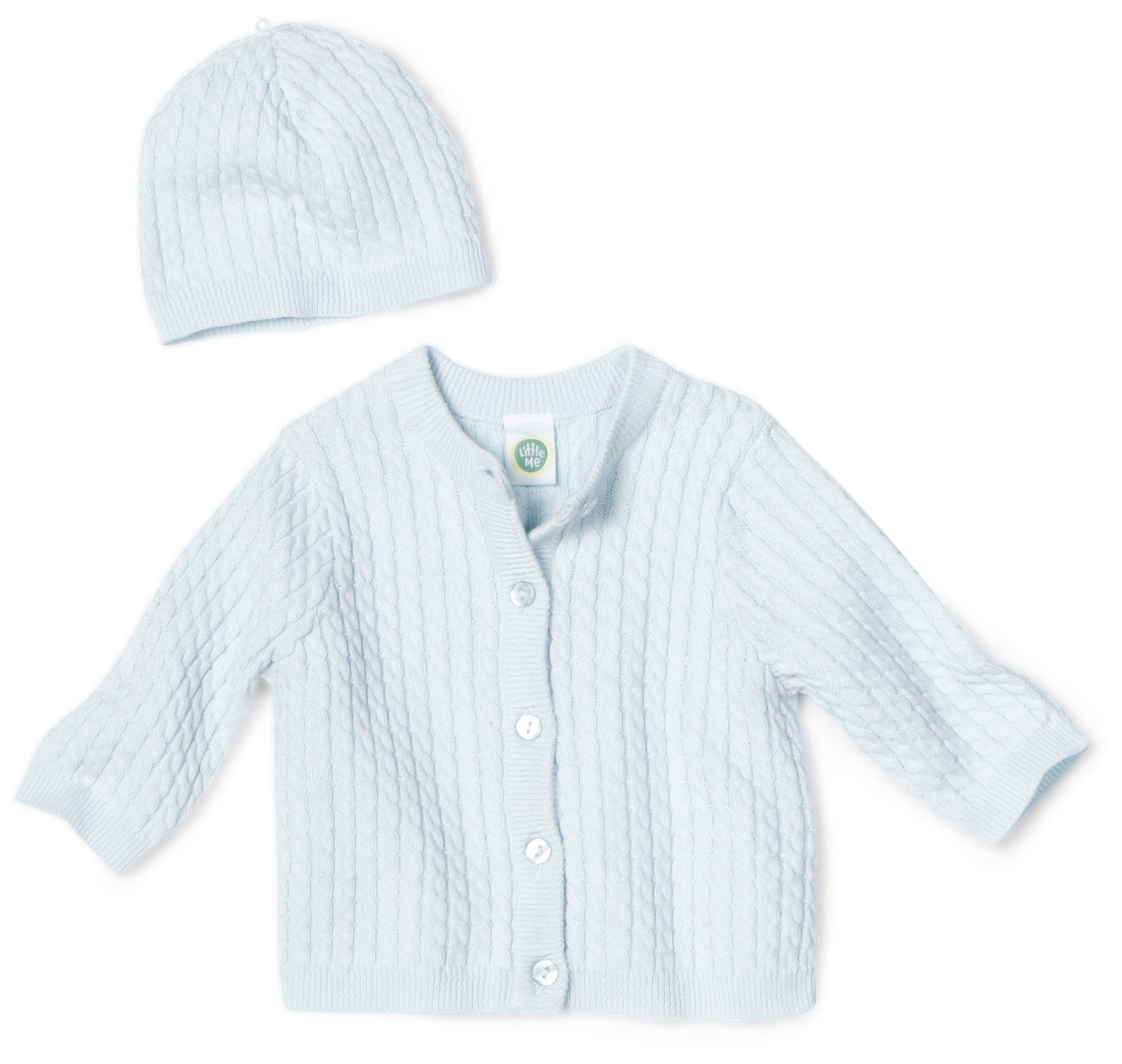 Little Me Baby Boy Newborn Huggable Cable Sweater, Light Blue, 3 Months by Little Me