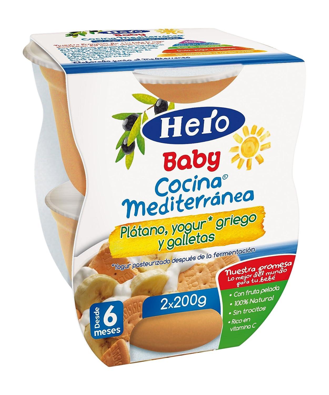 Hero Baby Cocina Mediterránea Plátano Yogur Galleta, Tarrina de Plástico - Paquete de 2 x 200 gr - Total: 400 gr: Amazon.es: Amazon Pantry