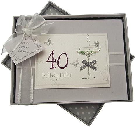 Tarjetas de algodón blanco, álbum hecho a mano cumpleaños, max. 60 fotos de 7 x 5 cm, blanco, de 40 años de edad