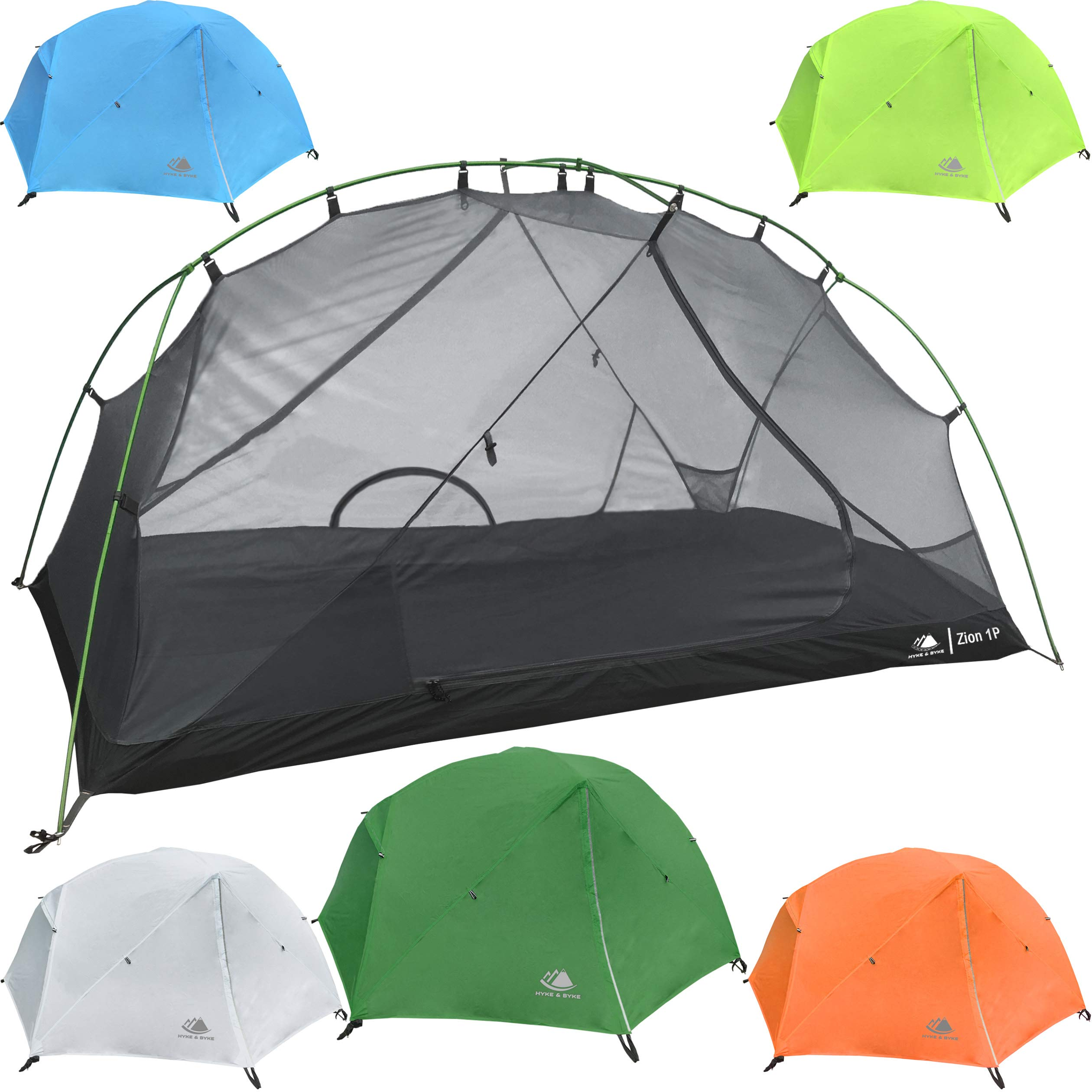 Hyke & Byke 1 Person Backpacking Tent with Footprint - Lightweight Zion One Man 3 Season Ultralight, Waterproof, Ultra Compact 1p Freestanding Backpack Tents for Camping and Hiking (Forest Green) by Hyke & Byke