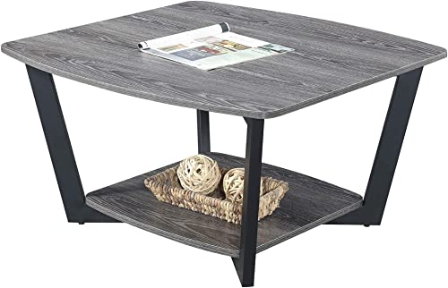 Convenience Concepts Graystone Square Coffee Table, Weathered Gray Black Frame