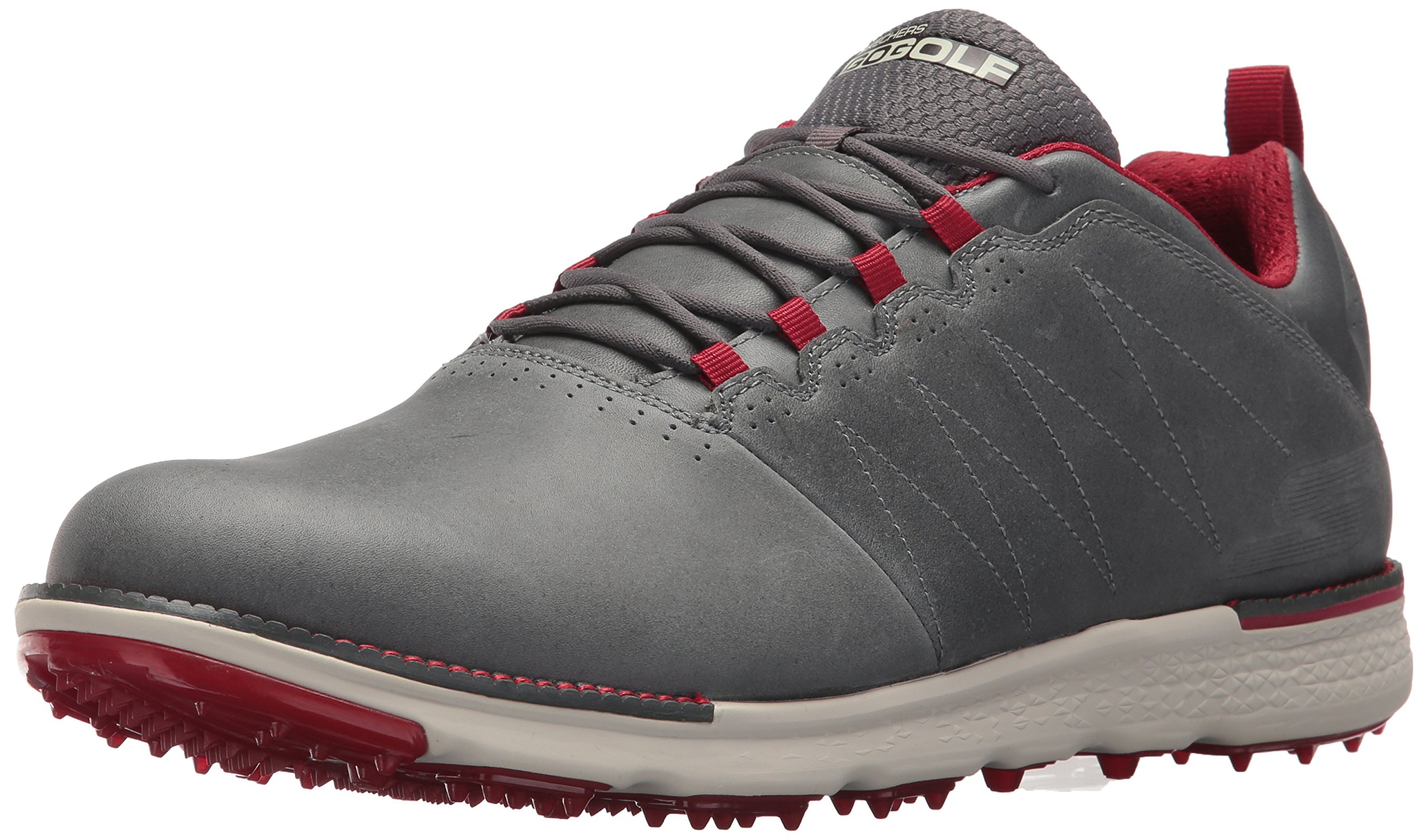 Skechers Men's Go Golf Elite 3 Lx Golf Shoe,Charcoal/Red,7.5 M US