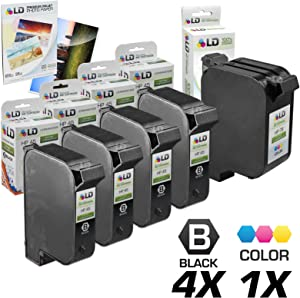 LD Remanufactured Ink Cartridge Replacements for HP 45 & HP 78 (4 Black, 1 Color, 5-Pack)