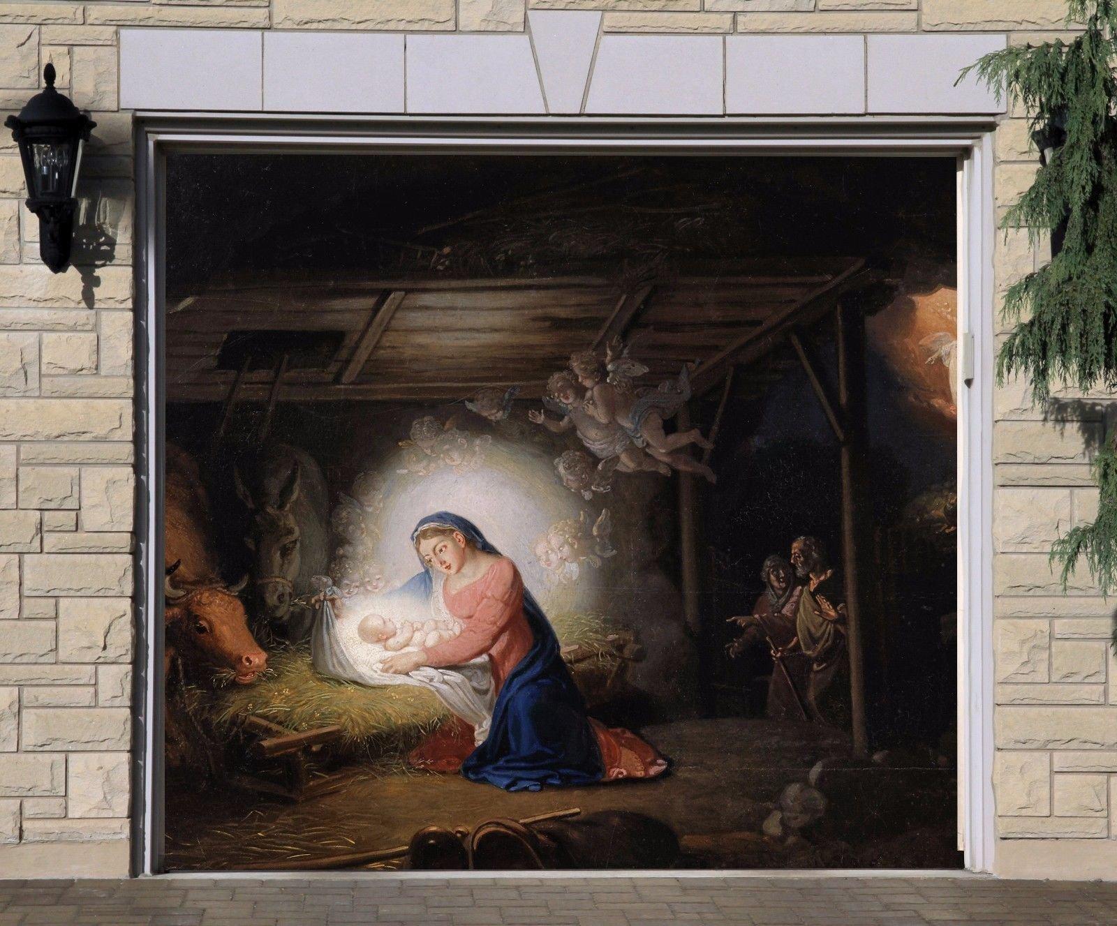 Single Garage Door Outdoor Christmas Murals Nativity Scene Garage Door Banner Covers Billboard House GarageJesus Holy Night Decor Full Color Decor 3D Effect Print Banner Size 83 x 96 inches DAV202