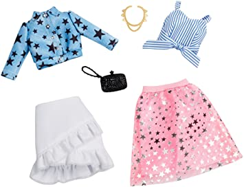 Amazon.es: Barbie Fashionistas Pack de 2 Modas, Ropa Barbie Estampado de Estrellas, Accesorios muñecas (Mattel FXJ66): Juguetes y juegos