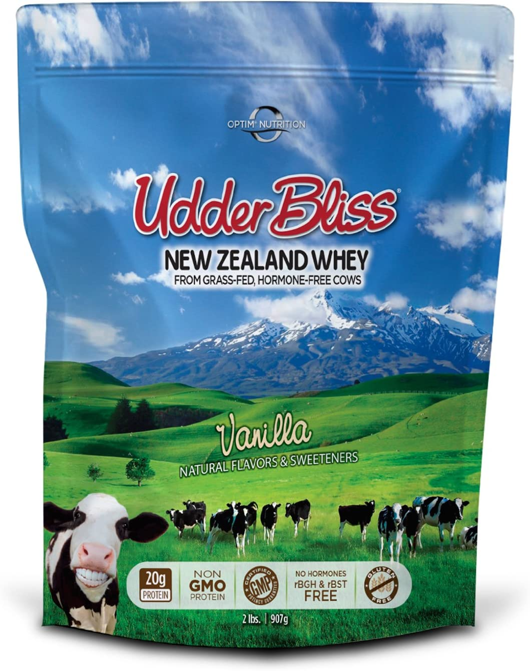 Optim Nutrition Grass Fed, Hormone-Free Udder Bliss Whey Protein Powder, Vanilla (2 Pounds)