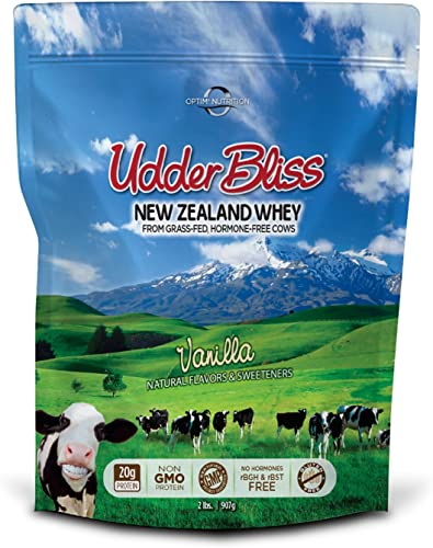 Optim Nutrition Grass Fed, Hormone-Free Udder Bliss Whey Protein Powder, Vanilla 2 Pounds