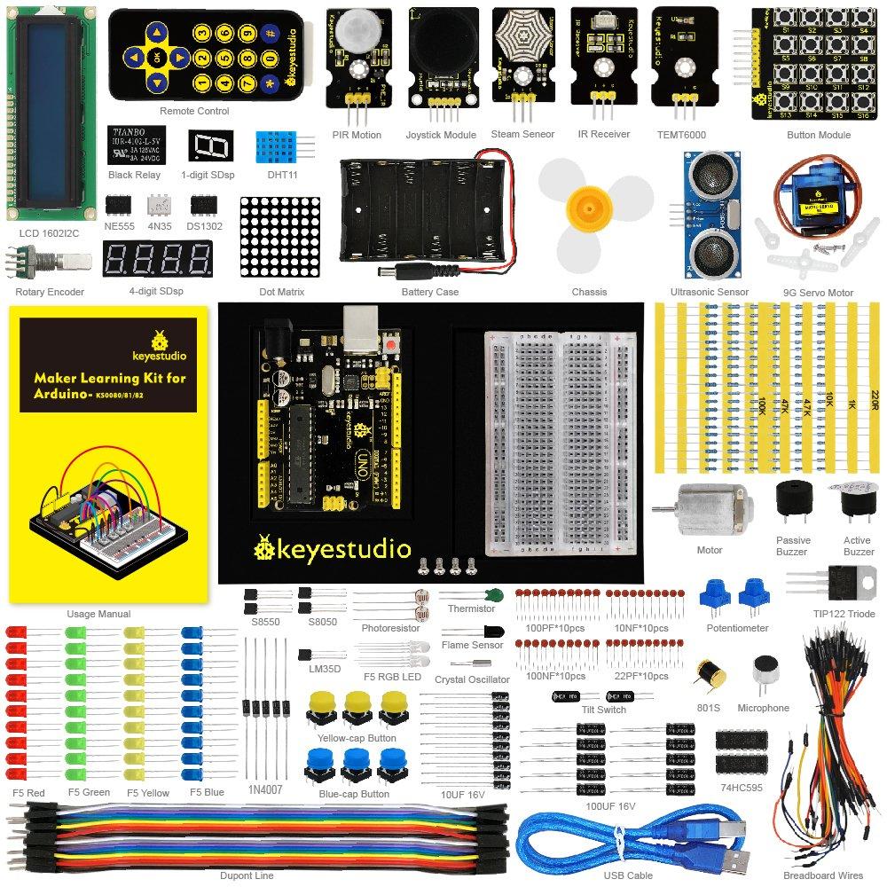 Keyestudio eléctrica Starter Kit con uno rLCD Servo Motor de Joystick Receptor