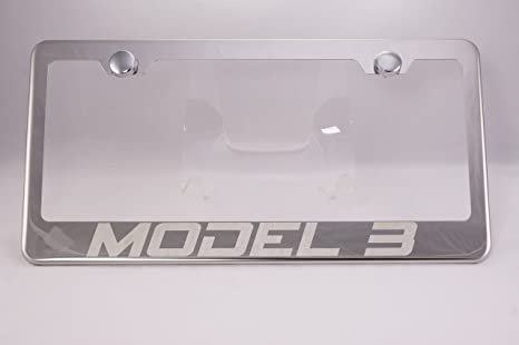 Amazon.com: Tesla Model 3 Laser Engraved Chrome License Plate Frame ...