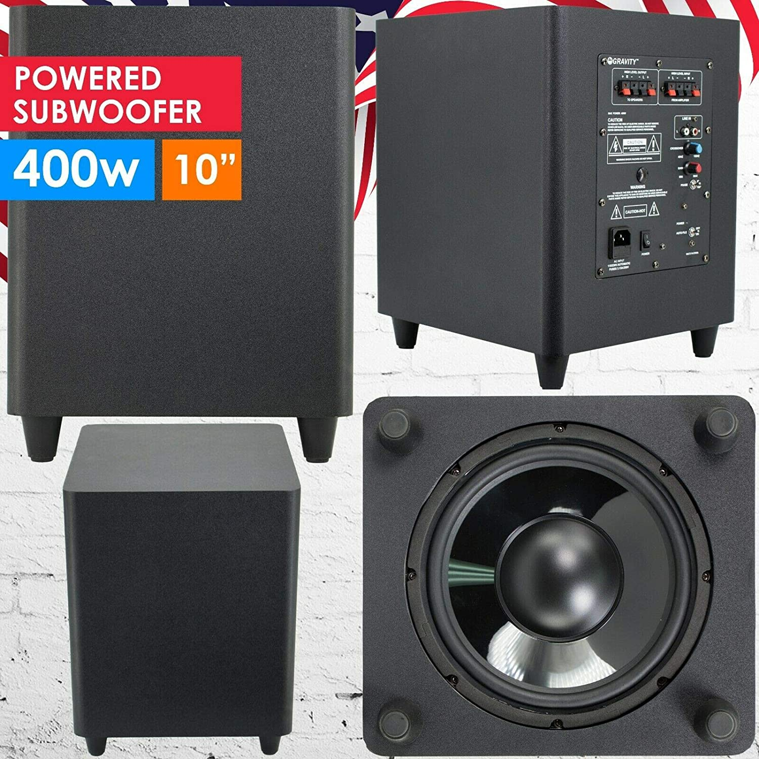 """Gravity 10"""" Down Fire Active Powered Subwoofer Home Theater Surround Sound 400W"""
