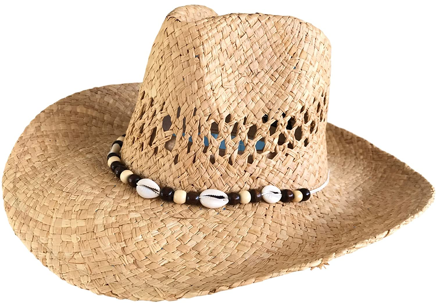 One Dozen Wholesale Women s Raffia Straw Cowboy Hats - Real Shell Bands by  Goal 2020 at Amazon Women s Clothing store  68cc2a18680