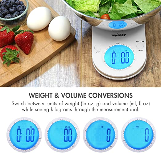Amazon.com: Tenergy Digital Kitchen Scale with 2L Removable Stainless Steel Bowl, High Precision LCD Display, Weight and Volume Units Conversion, ...