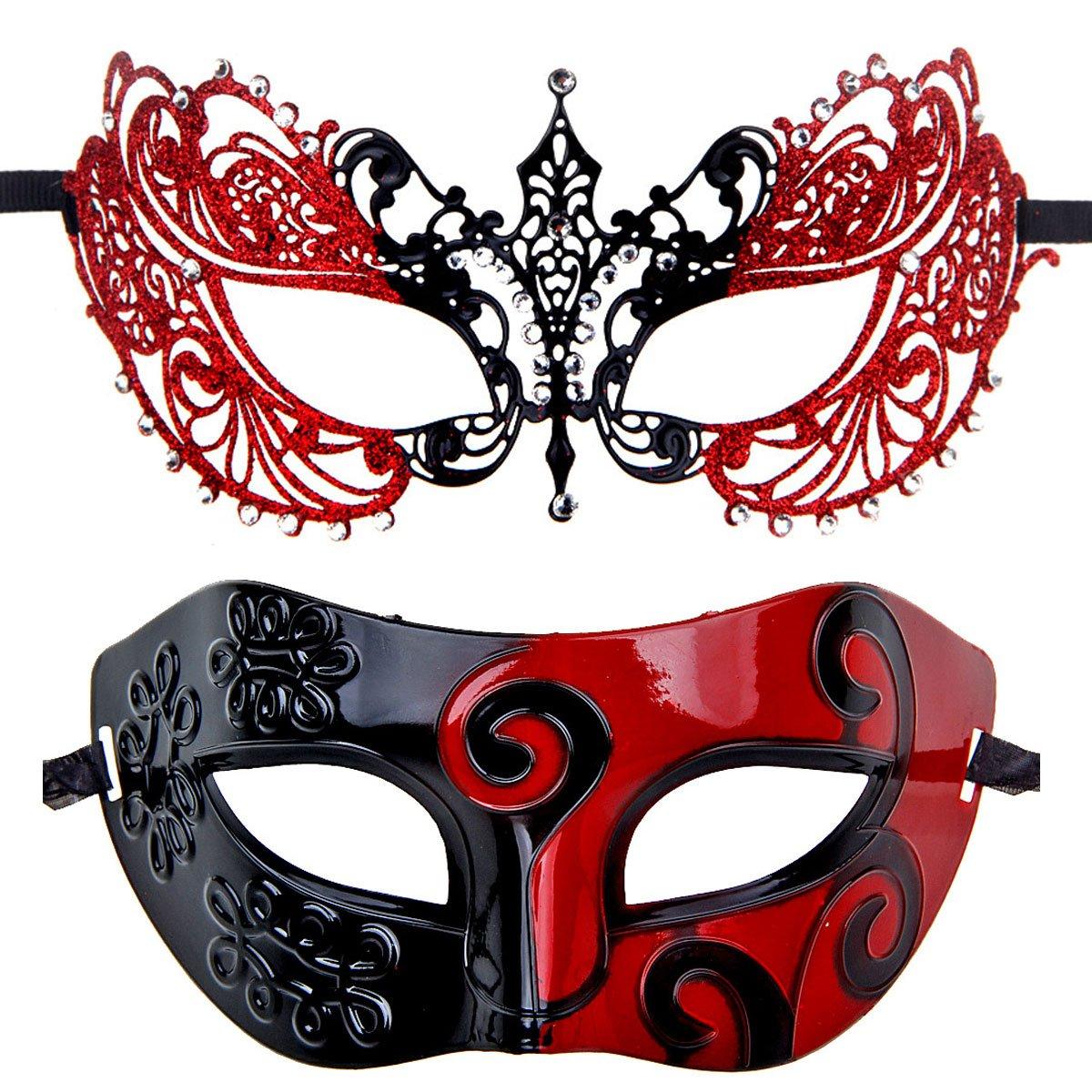ECOSCO Couple Masquerade Mask Women Men Mardi Gras Venetian Ball Mask (Black-Red+Black-red4)