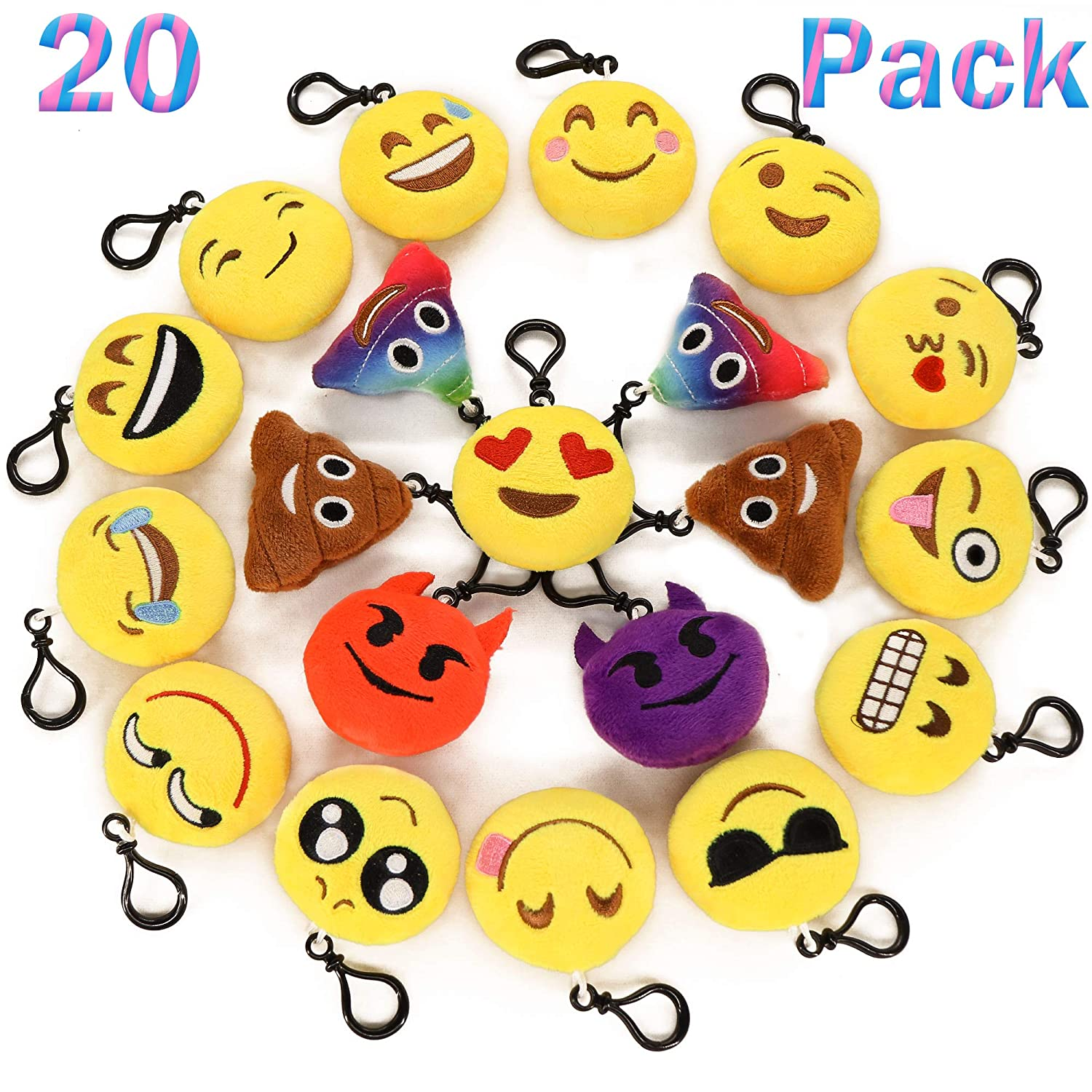 Ivenf Pack of 20 5cm/2' mini Emoji Keychain Cushion Pillows Set Party Supplies/Clawmachine Refill Prizes/Pinata Filler, Extra Poop SYNCHKG108653