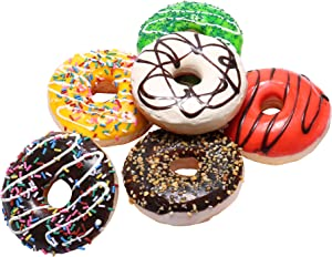 6 Pack Fake Donuts Cake Toys, Perfect for Kids Pretend Play Food Party, Birthday and Wedding Artificial Doughnuts Decorations with Magnets (3.5Inch)