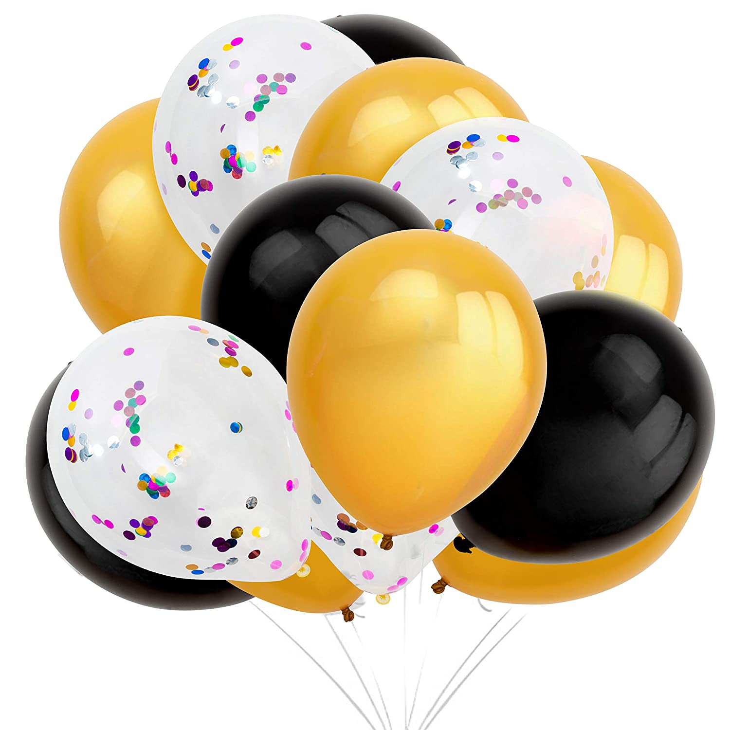Confetti Balloon Set – 125-Pack Balloons in Black, Gold, Clear/White with Confetti – Includes String and Blowing Straws - Latex Balloons for Birthdays and Anniversaries, 12-Inch Diameter Balloons