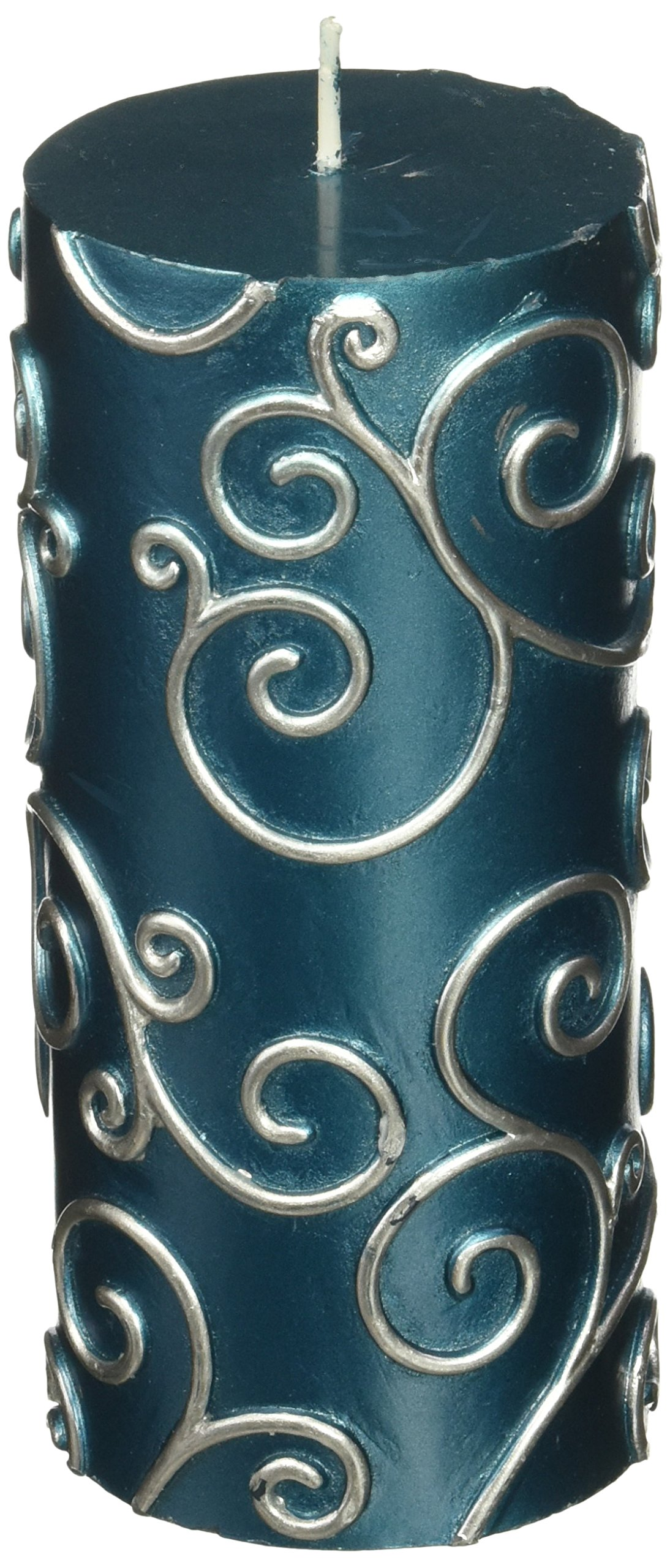 Zest Candle CPS-008_12 12-Piece Scroll Pillar Candle, 3'' x 6'', Blue