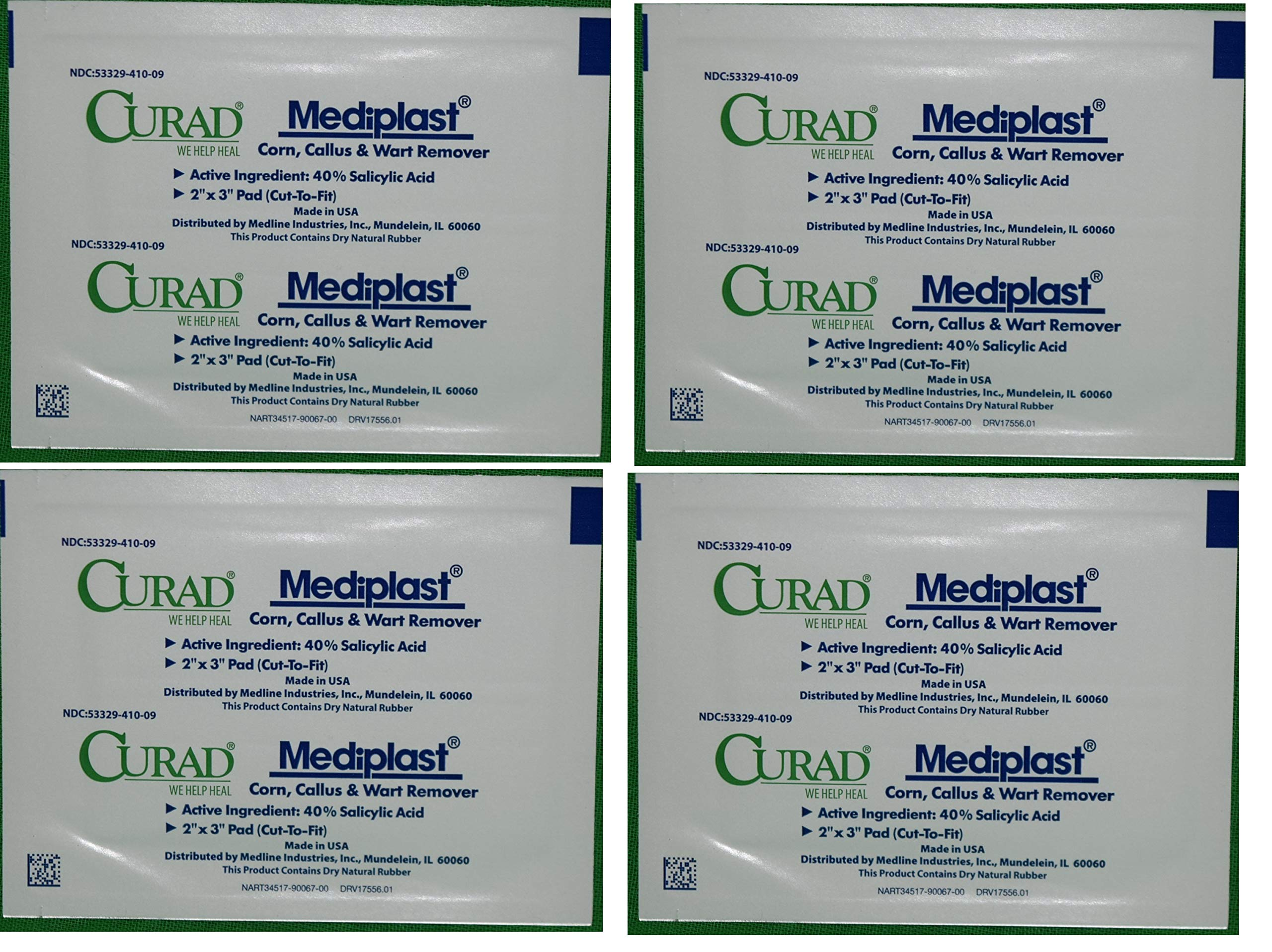 """Curad Mediplast Corn, Callus, Wart Remover CUR01496 2x3"""" Cut To Size FOUR (4) Pads"""