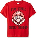 Nintendo Bro Graphic T-Shirt, red//Officially Licensed Big Dark Brown Youth Boy's el