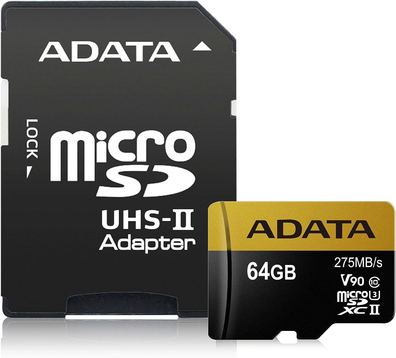 ADATA Premier One V90 Memoria Flash 64 GB MicroSDXC Clase 10 UHS-II - Tarjeta de Memoria (64 GB, MicroSDXC, Clase 10, UHS-II, 275 MB/s, Negro, Oro)