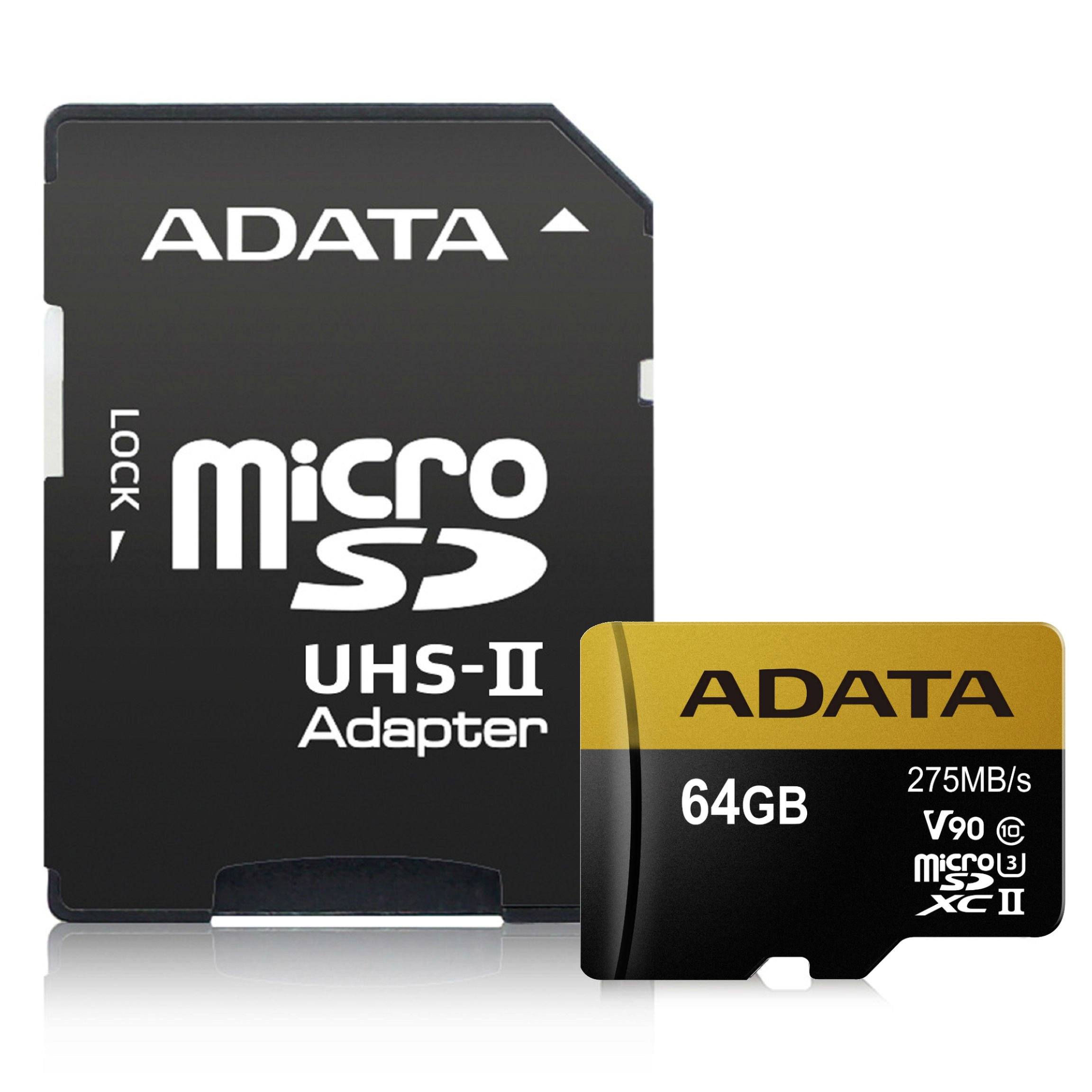ADATA Premier ONE 64GB SDXC UHS-II U3 Class10 V90 3D NAND 4K 8K Ultra HD 275MB/s Micro SD Card with Adapter (AUSDX64GUII3CL10-CA1)