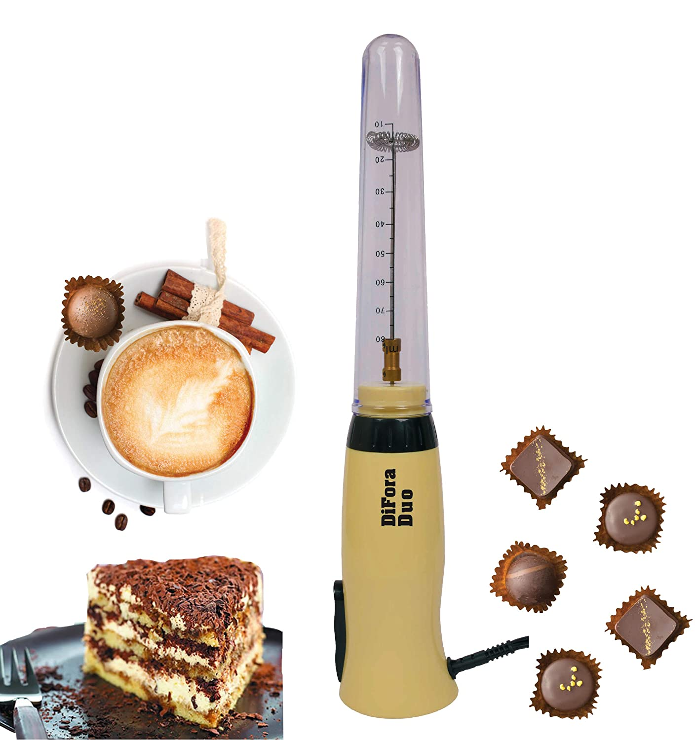 New Premium Class Difora Duo Milk Frother and Frappe Maker, UNIQUE DUAL Hi/Lo Speed, 30W, 120V. Super Reliable Motor, Made to Stand on Counter
