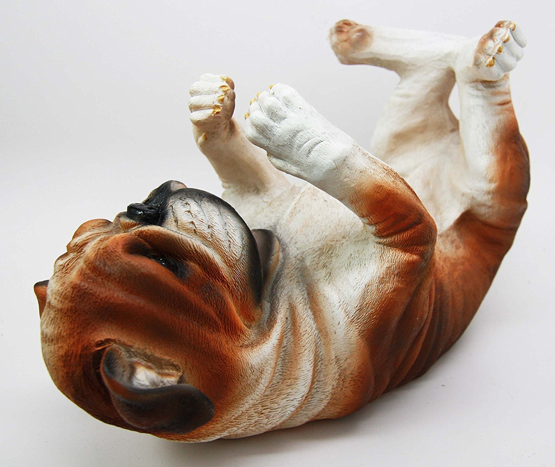 Ebros Lifelike Purebreed Pedigree Canine Adorable American Bulldog Dog Wine Bottle Holder Figurine Statue As Kitchen…