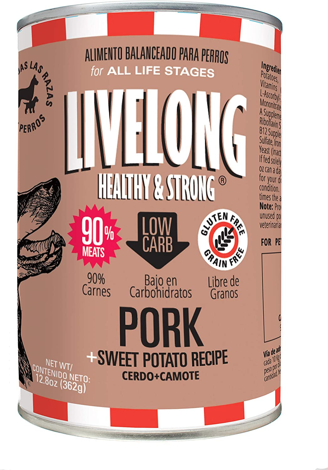 LIVELONG HEALTHY & STRONG Canned Dog Food - 12.8 oz Wet Dog Food with 90% Meat – Premium Dog Food Can with Organic Vegetables – No Grain Recipe – Pack of 12 Dog Food Cans