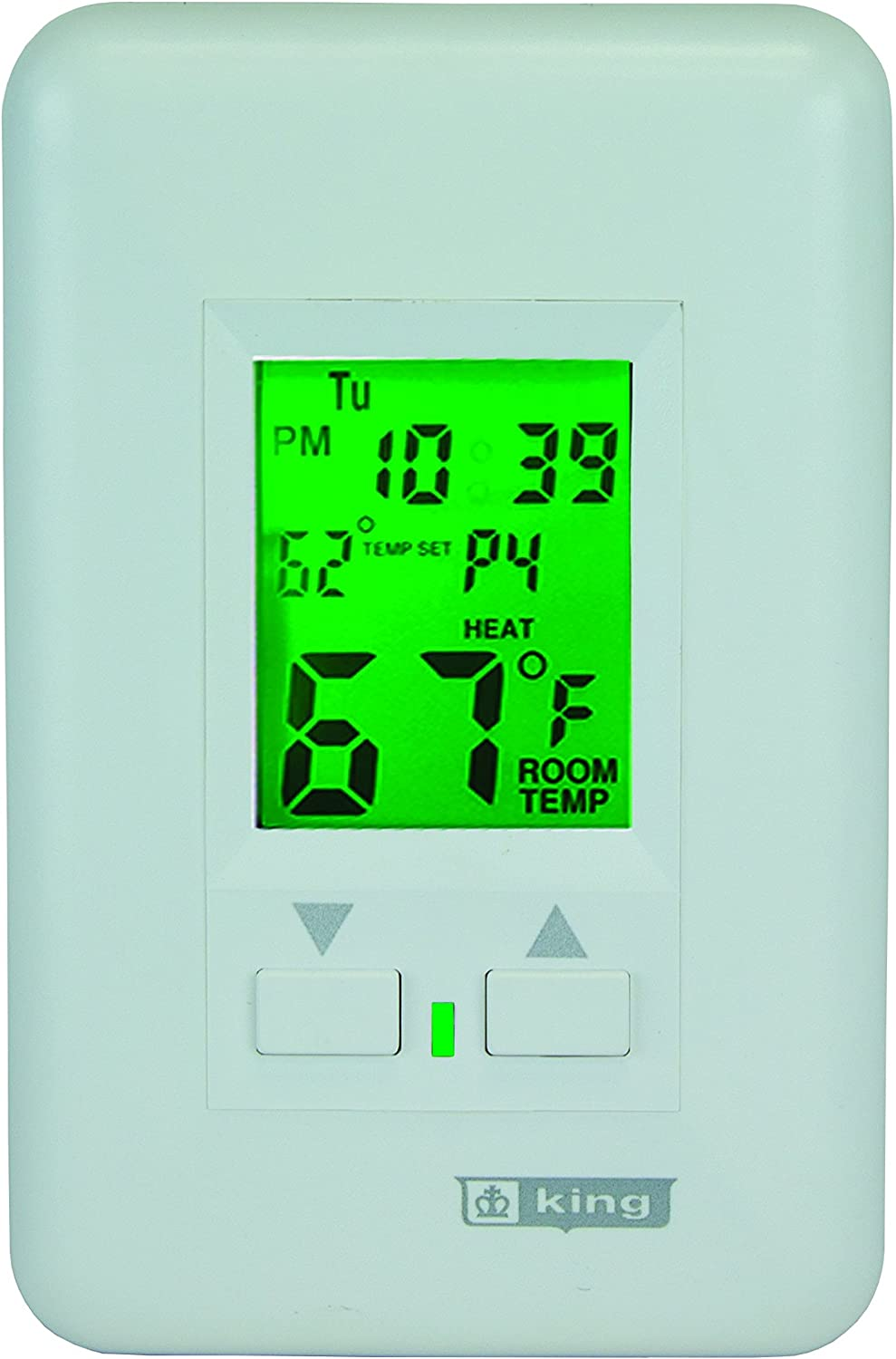 KING HWPT120 7 Day Programmable Line Voltage 16 Amp Hydronic 2 Circuit Thermostat with Pump Timer, White